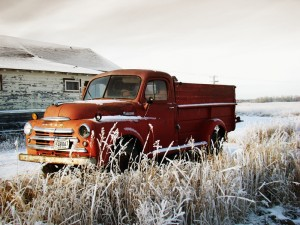 Old Red Truck by Farmers Hall2-800